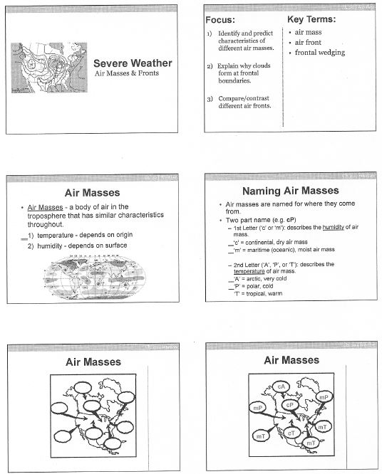 Air Masses Fronts – Air Masses Worksheet
