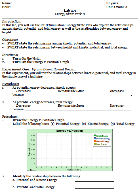 Lab: Energy Skate Park – Teaching Portfolio
